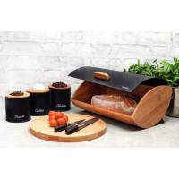 Bambusový chlebník KonigHOFFER Cosmic + 3 dózy, čierny
