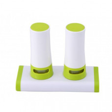 Mlynček na soľ a korenie s magnetickým stojanom, zelený, biely