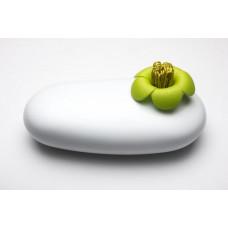 Multifunkčné púzdro Qualy Blossom Pebble Box, biele-zelené, so s