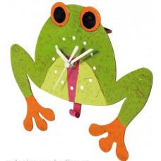 Nástenné hodiny detské s kyvadlom žaba Lowell 30cm
