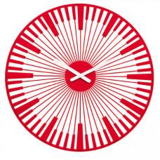 Nástenné hodiny PIANO, Koziol, transpar. červená, 45cm