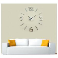 Nalepovacie nástenné hodiny, HM02S, strieborné, 60cm