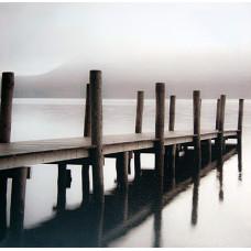 Obraz na plátne 70x70cm Mólo bielo-šedý