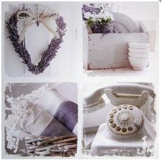 Obraz na plátne 50x50cm TELEFÓN LEVANDUĽA KOLÁŽ fialovo-biely