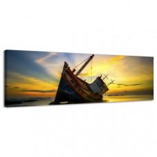 Obraz na plátne Panoráma Stroskotaná loď, 158x46 cm