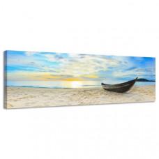 Obraz na plátne Panoráma, Loď na pláži, 36x118cm
