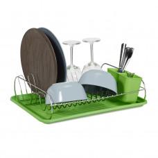 Odkvapkávač na riad zelený s držiakom priboru, RD0445