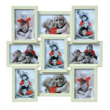 Plastový fotorám pre 9 fotiek 10x15 krémový, 45x45cm