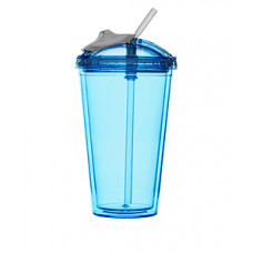 Pohár so slamkou SAGAFORM Fresh Smoothie Mug, 450ml, modrý