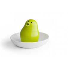 Soľnička s tanierikom Qualy Jib-Jib Shaker, biela-zelená