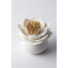 Stojanček na špáradlá Qualy Lotus Toothpick Holder, biely-biely