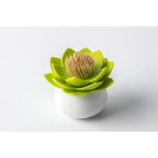 Stojanček na špáradlá Qualy Lotus Toothpick Holder, biely-zelený