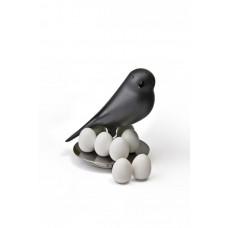Stojanček s magnetmi Qualy Magnetic Egg Sparrow, čierny
