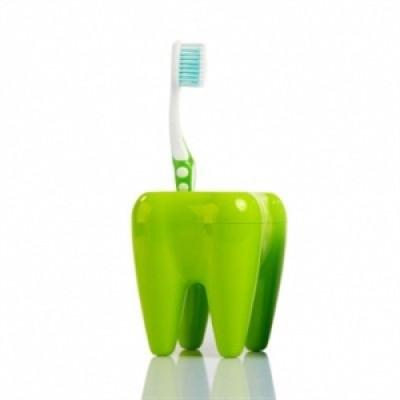 Stojan na kefky zub zelený