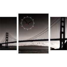 3-dielný obraz s hodinami, BRIDGE, 95x60cm