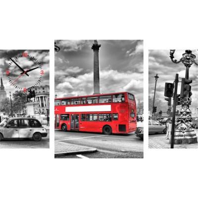 3-dielný obraz s hodinami, London Bus, 95x60cm