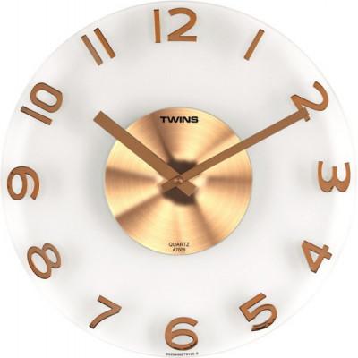 Nástenné hodiny Twins 7006 gold 30cm
