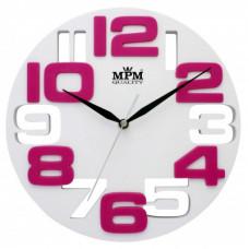 Nástenné hodiny MPM, 3064.00 - biela, 25cm