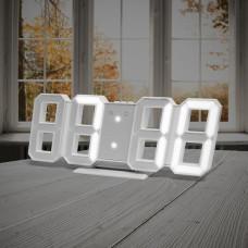 Hodiny s budíkom Balvi Digital M, biele 27cm