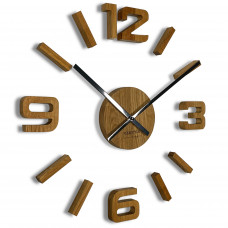 3D nalepovacie dubové hodiny DIY EKO z54g 75 d-1-x, 75 cm