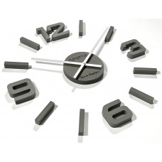 3D Nalepovacie hodiny DIY ADMIRABLE SWEEP EKO z54g-75, 75 cm, sivé