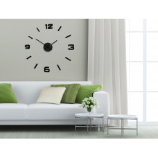 3D Nalepovacie hodiny DIY ADMIRABLE SWEEP EKO z254g-2, čierne 75cm