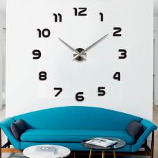 3D Nalepovacie hodiny DIY Clock 1-12, Black/silver 80-130cm