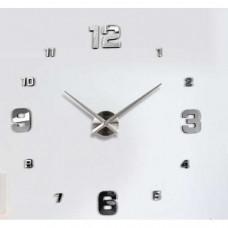3D Nalepovacie hodiny Clock BIG 3-12 L, Silver Mirror 80-130cm