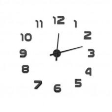 3D Nalepovacie hodiny DIY Clock Evevo 8233XL, čierne 90-130cm
