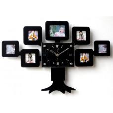 Hodiny na stenu so 7 fotorámikmi Q70, čierne, 60cm