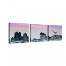 3-dielny obraz s hodinami, New York, 35x105cm