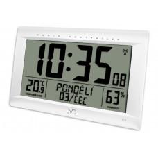 Rádiom riadené digitálne hodiny s budíkom JVD biele RB9075.2, 41cm