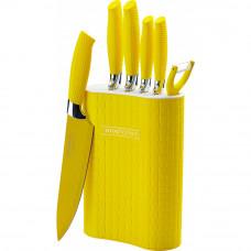 Sada 5 nožov, škrabky a stojanu Royalty Line RL-6MSTK, žltá