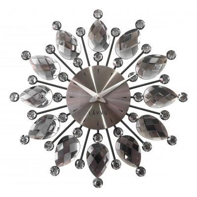 Nástenné hodiny LAVVU LCT1121 CRYSTAL Flower Antracitové, 33 cm