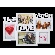 Biely fotorámik Live-Laugh-Love, 46x32cm gf2430