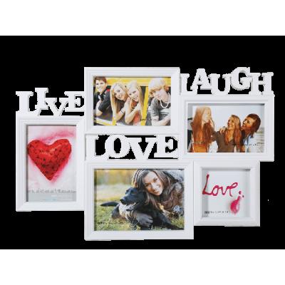 Biely fotorámik Live Laugh Love, 46x32cm RD9999