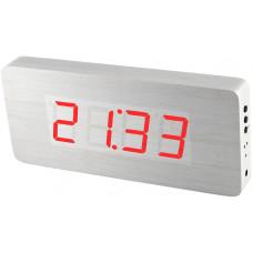 Digitálny LED budík/ hodiny MPM s dátumom a teplomerom 3672.50, red led, 25cm