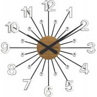 Drevené strieborno-čierne hodiny s kameňmi Vlaha design VCT1082, 49cm