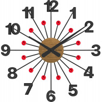 Drevené čierne hodiny s červenými kameňmi Vlaha design VCT1083, 49cm