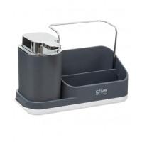 Dávkovač mydla s organizérom, šedý 5five Simple Smart