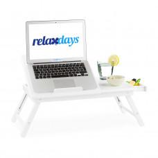 Stolík na notebook do postele Bambusový biely, RD3254