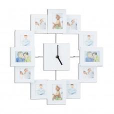 Nástenné hodiny s 12 fotorámikmi biele, rd1960 35cm