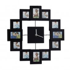 Nástenné hodiny s 12 fotorámikmi čierne, rd1960 35cm