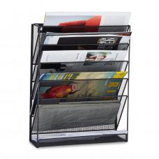 Nástenný stojan na noviny a časopisy, čierny RD2508