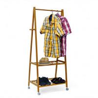 Bambusový stojan na oblečenie s kolieskami RD9031