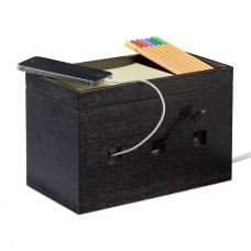 Bambusová skrinka na káble RD4672, čierna