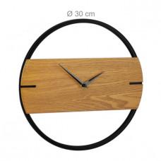 Dizajnové nástenné hodiny drevo a kov RD4281, čierne