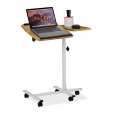 Nastaviteľný stolík na notebook s kolieskami RD4312, svetlé drevo