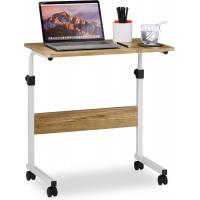 Nastaviteľný stolík pod notebook s kolieskami RD4309, svetlé drevo