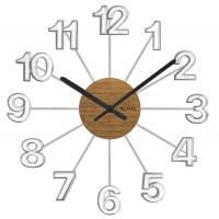 Drevené strieborné hodiny Vlaha design VCT1070, 42 cm